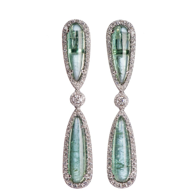 Dramatic Tourmaline and Diamond Drop Earrings For Sale