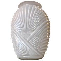 Draped Art Deco Vase in Cased White Opaline Glass, 1930s