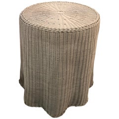 Draped Wicker Flare End Side Table Trompe LOeil Lacquered Color of Choice