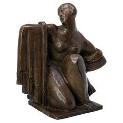 Draped Woman, Art Deco Bronze Sculpture by Jean Canneel, Belgium