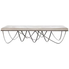 Draper Bench with Ivory Leather by Powell & Bonnell