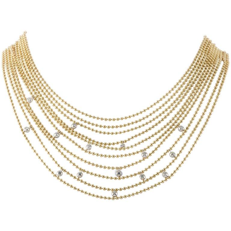 Draperie De Decolette 18k Yellow And White Gold Diamond