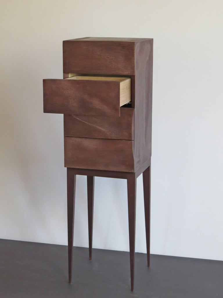 Hand-Crafted Jewelry Dresser, Drawer Chest, Bronze, Organic Design, handcrafted in Germany For Sale