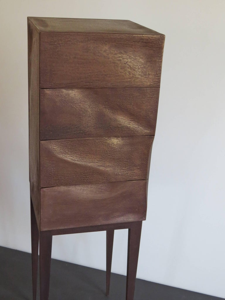 Contemporary Jewelry Dresser, Drawer Chest, Bronze, Organic Design, handcrafted in Germany For Sale