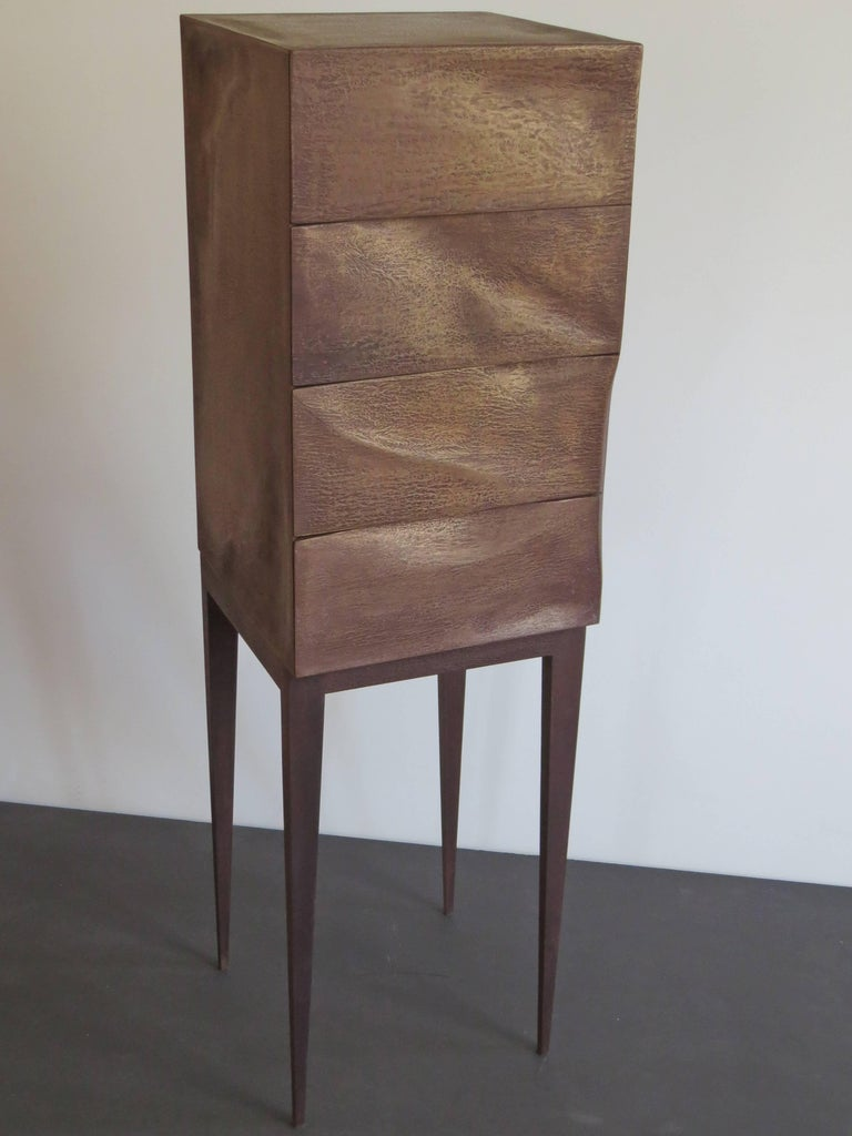 Wood Jewelry Dresser, Drawer Chest, Bronze, Organic Design, handcrafted in Germany For Sale