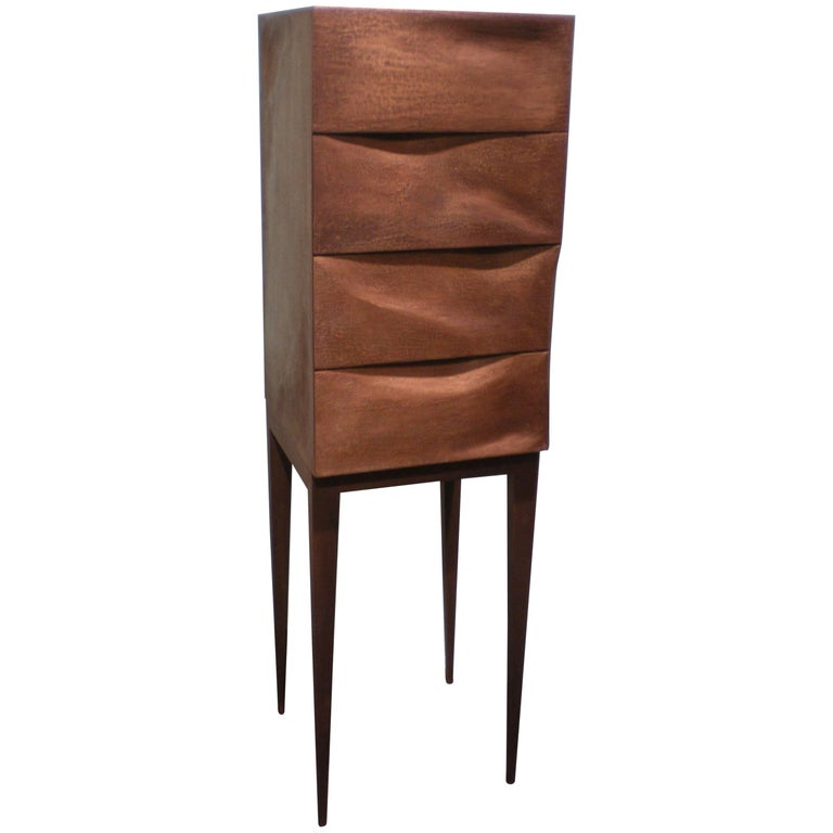 Jewelry Dresser, Drawer Chest, Bronze, Organic Design, handcrafted in Germany For Sale