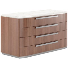 Drawer Chest Contemporary Chest by Fabio Arcaini Marble Walnut Wood