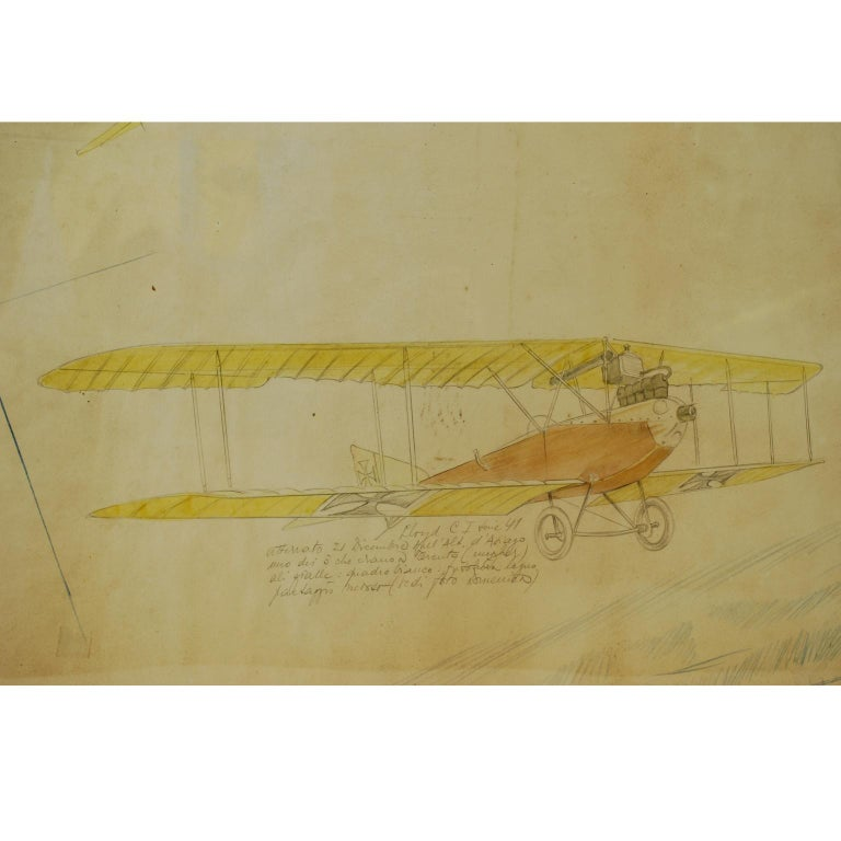 Italian Drawing Depicting Three Different Biplanes WWI For Sale