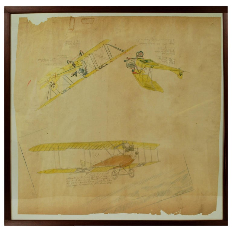 Drawing Depicting Three Different Biplanes WWI For Sale