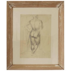 Drawing of a Male Nude by Peter William Ibbetson, circa 1930