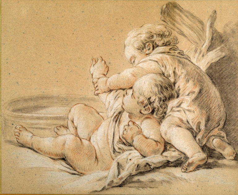 Drawing of children playing besides a basin of water. Framed in a Louis XVI giltwood frame. Typical of the style and subjects of Francois Boucher. Chalk and pencil on paper.