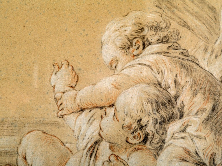 Rococo Drawing of Children Playing, Circle of Francois Boucher For Sale