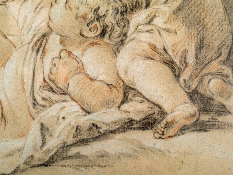 French Drawing of Children Playing, Circle of Francois Boucher For Sale