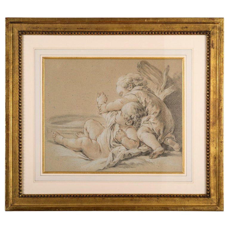 Drawing of Children Playing, Circle of Francois Boucher For Sale