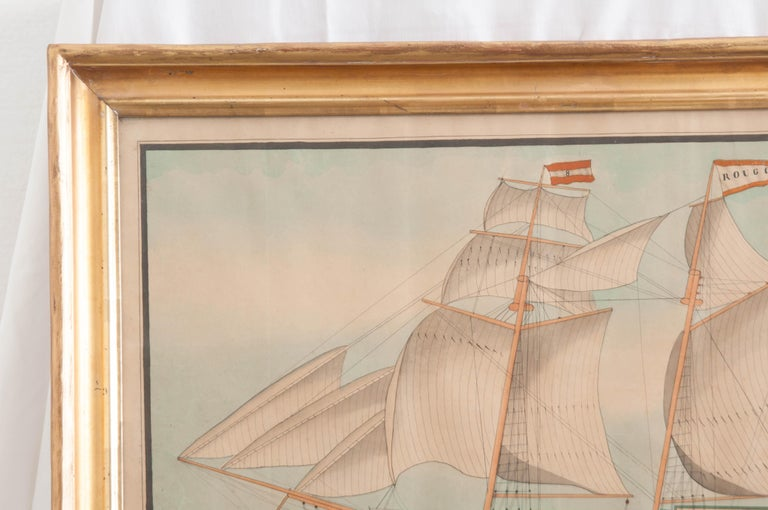 Drawing of French Schooner in Giltwood Frame In Good Condition For Sale In Baton Rouge, LA