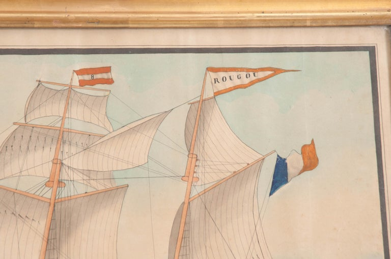 19th Century Drawing of French Schooner in Giltwood Frame For Sale