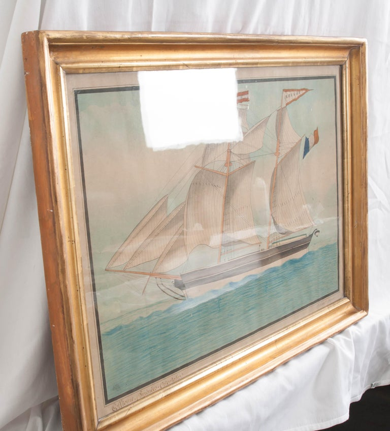 Paint Drawing of French Schooner in Giltwood Frame For Sale