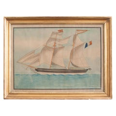 Drawing of French Schooner in Giltwood Frame