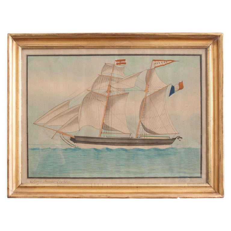 Drawing of French Schooner in Giltwood Frame For Sale