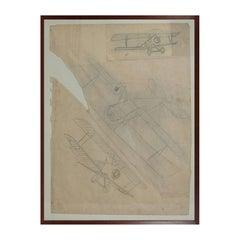 Drawing Representing Three Different Biplanes Aircraft WWI by Riccardo Cavigioli