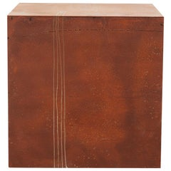 """Drawn Rusted Cube"" Minimal, Rust Patina, Steel, Artists Hand Etched Shapes"