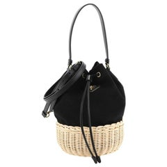 Drawstring Bucket Bag Canvas and Wicker Small