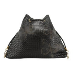 Drawstring Tote Butterfly Embossed Intrecciato Nappa Large