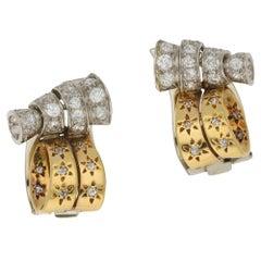 Vintage Drayson London Diamond Gold Clip Earrings Circa 1930's
