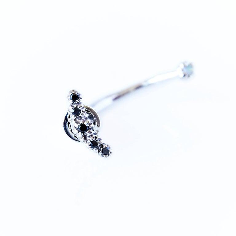 Black Diamond Opal Earring Silver Moon J Dauphin