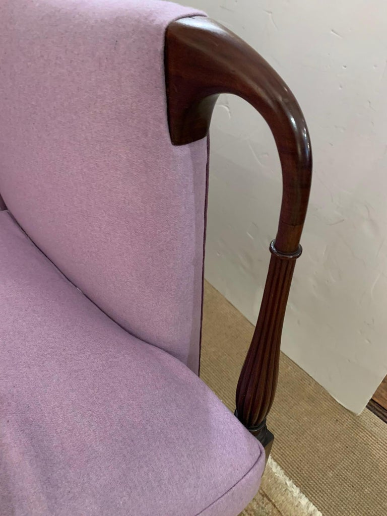 Early 20th Century Dreamy Federal Style Mahogany and Lavender Antique Settee Loveseat For Sale