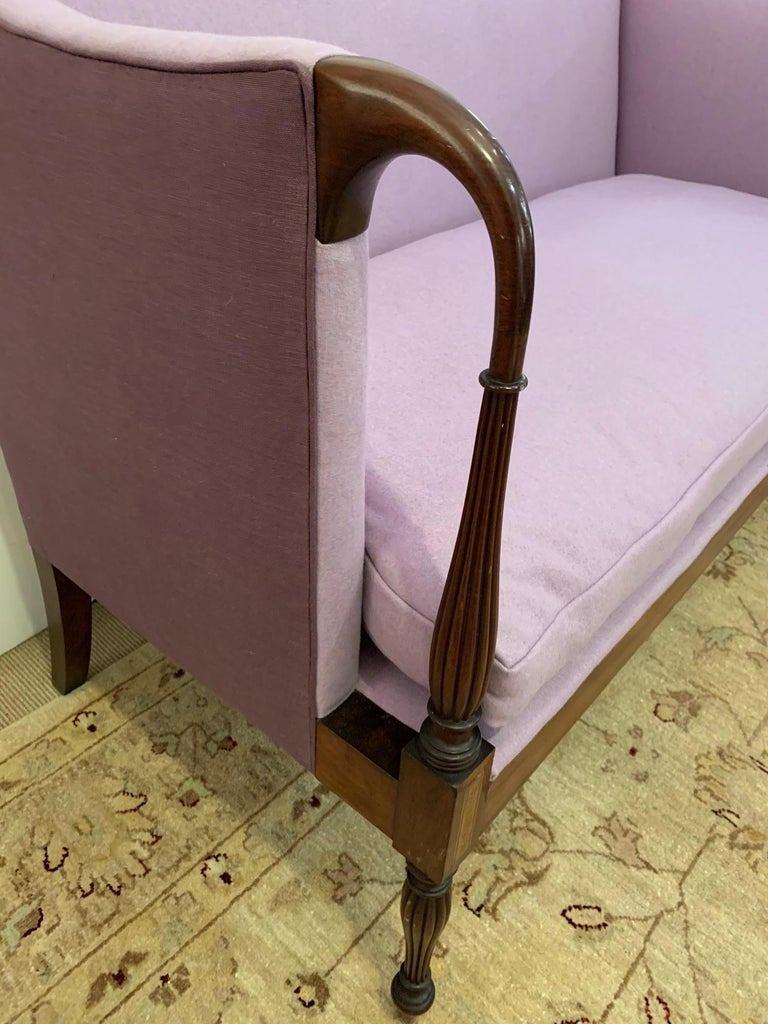 Upholstery Dreamy Federal Style Mahogany and Lavender Antique Settee Loveseat For Sale