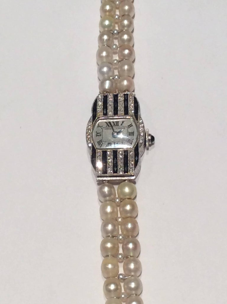 Dreicer & Co. Ladies Art Deco Diamond Pearl Onyx Wristwatch For Sale 1