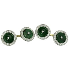 Dreicer & Co. Art Deco Natural Jade Diamond Platinum Gold Cufflinks