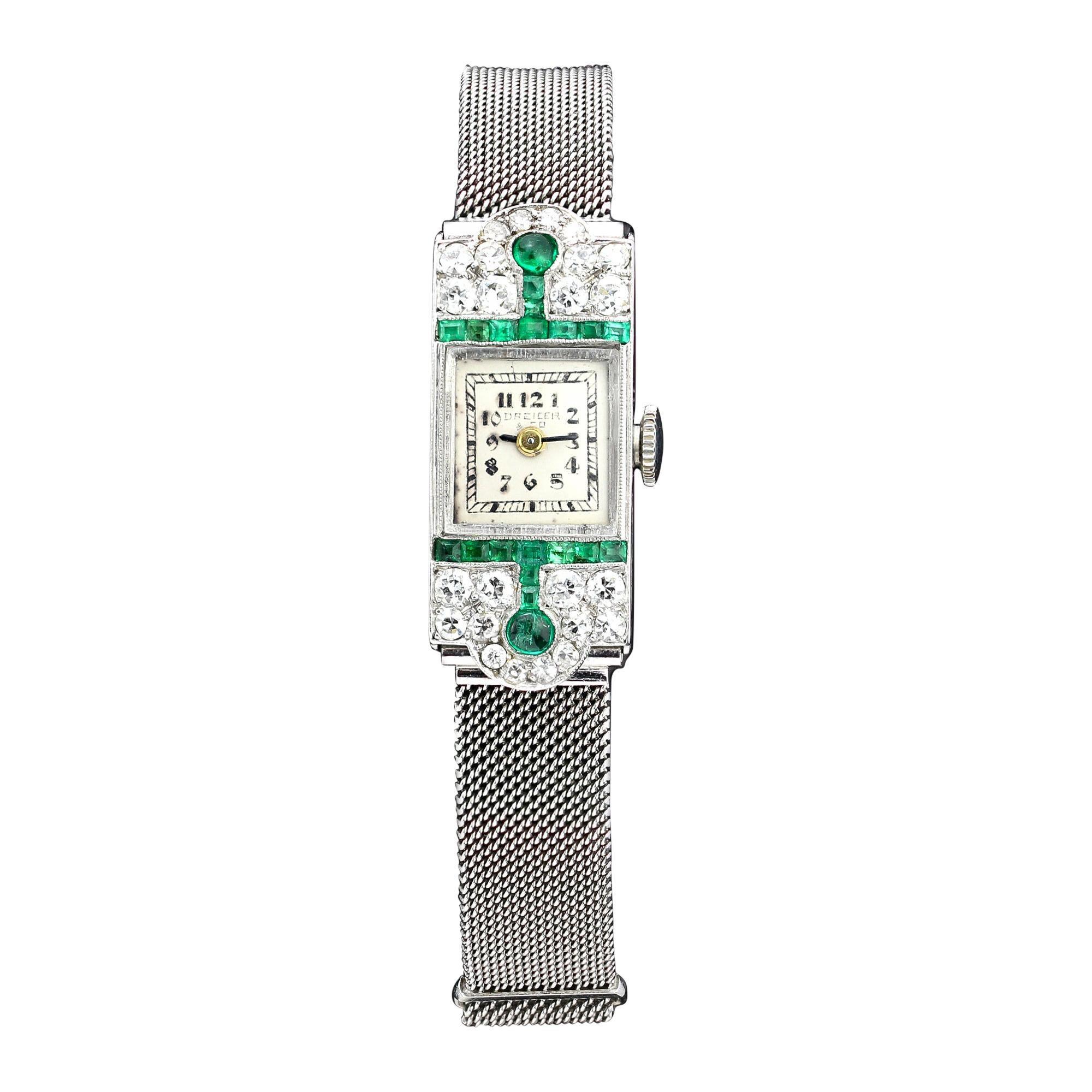 Dreicer & Co Art Deco Period Full Platinum Ladies Watch with Emeralds & Diamonds