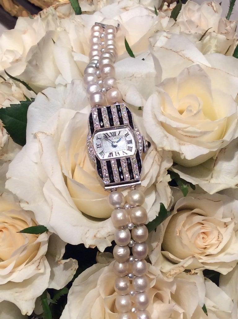 Dreicer & Co. Ladies Art Deco Diamond Natural Pearl Onyx Wristwatch For Sale 1