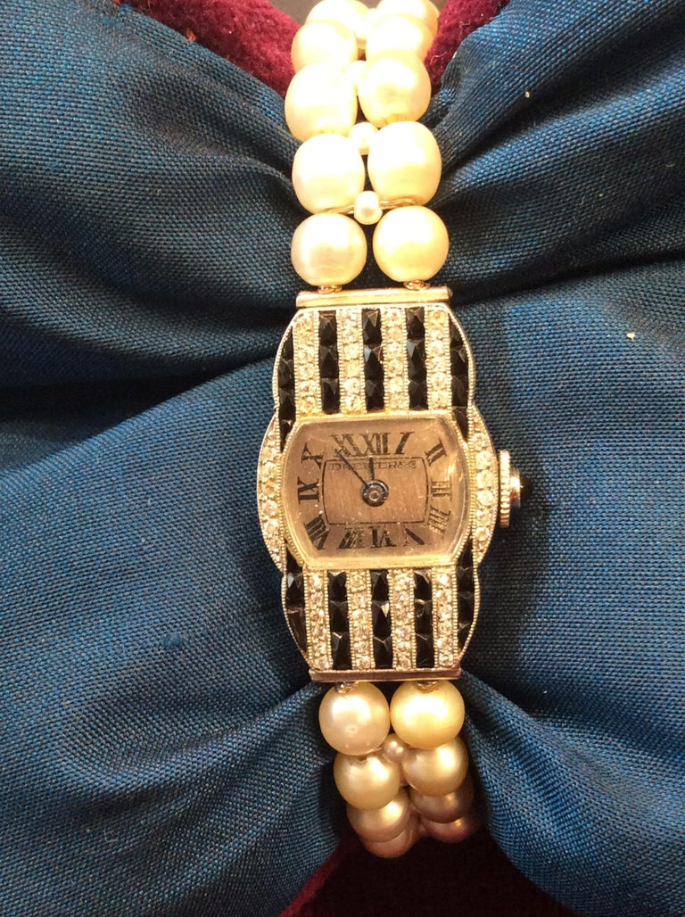 Dreicer & Co. Ladies Art Deco Diamond Natural Pearl Onyx Wristwatch For Sale 1