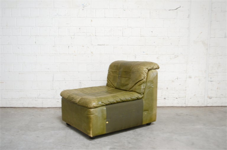 Amazing Dreipunkt International Leather Patchwork Sofa Module Olive Short Links Chair Design For Home Short Linksinfo