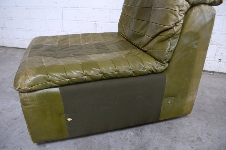 Admirable Dreipunkt International Leather Patchwork Sofa Module Olive Short Links Chair Design For Home Short Linksinfo