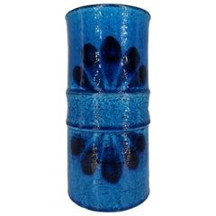 Drejargruppen for Rörstrand Midcentury Modern Blue Chamotte Ceramic Vase, 1972