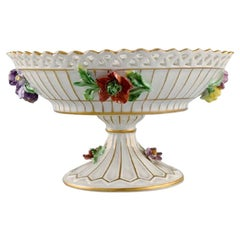 Dresden Compote in Openwork Porcelain with Hand-Painted Flowers