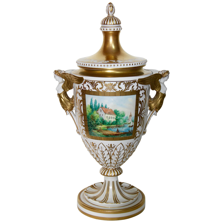 Dresden Porcelain, Amphora, Lid Vase, Urn, with Gold Painting