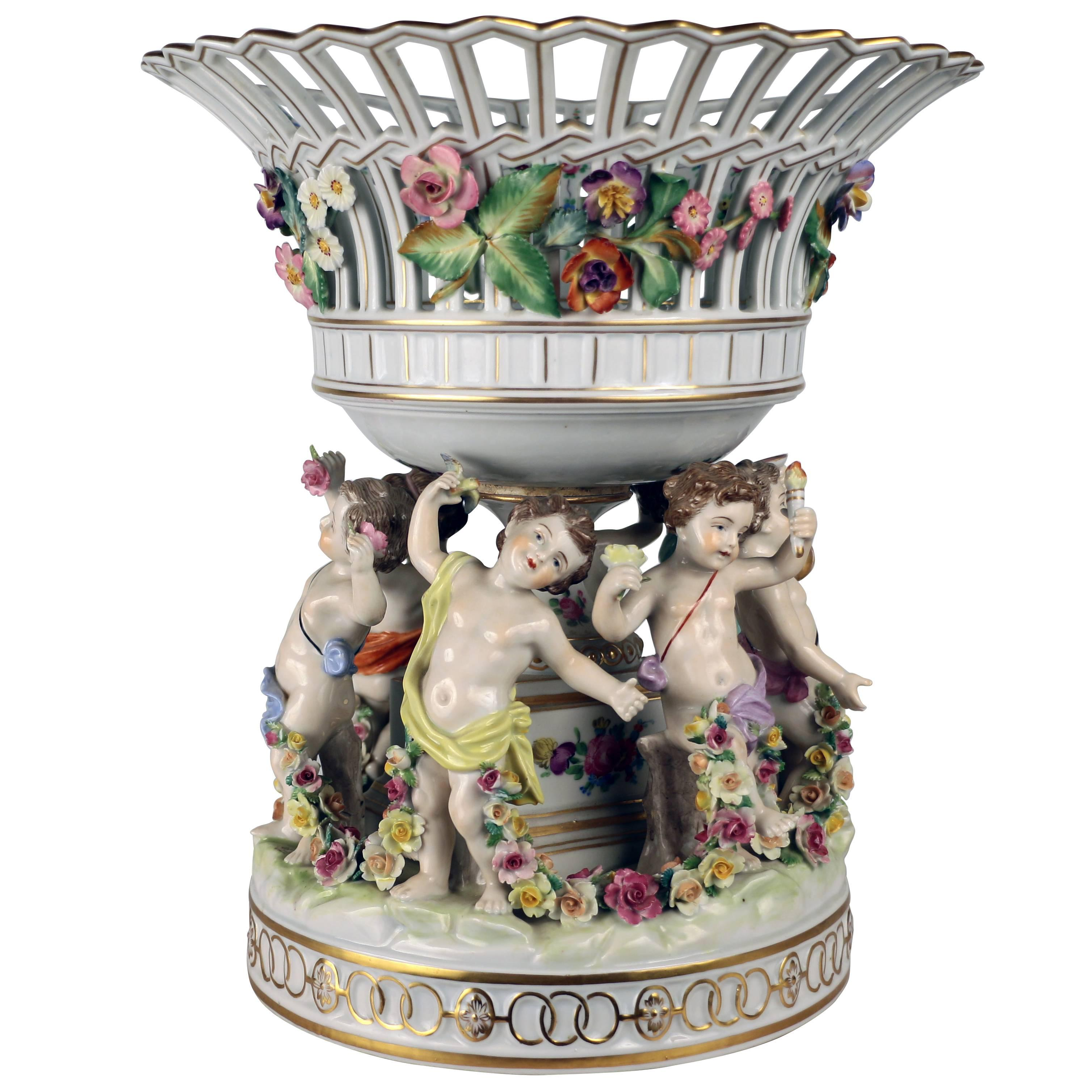 Dresden Porcelain Figural Centrepiece Raised Fruit Bowl
