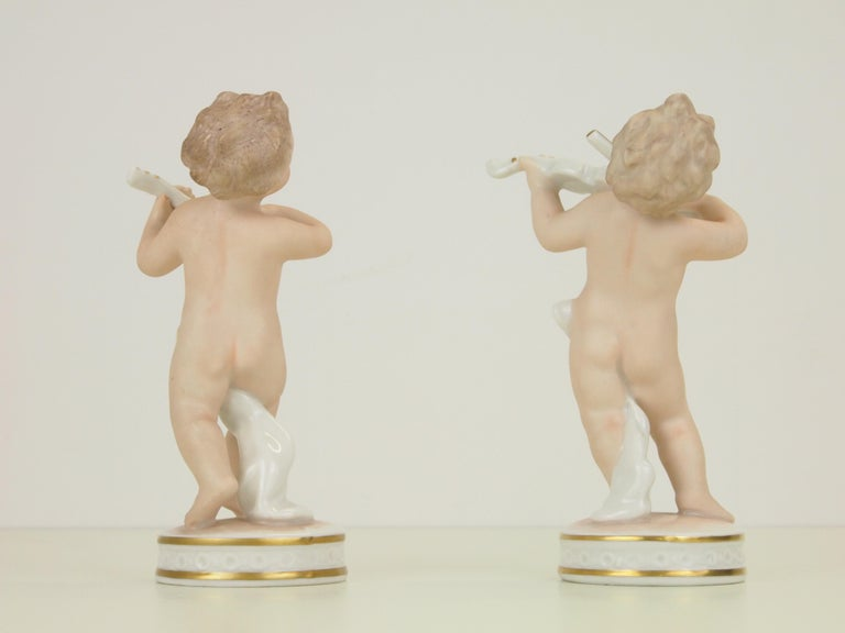 Dresden Porcelain Figurines Depicting 2 Music Playing Cherubs by Carl Thieme For Sale 3