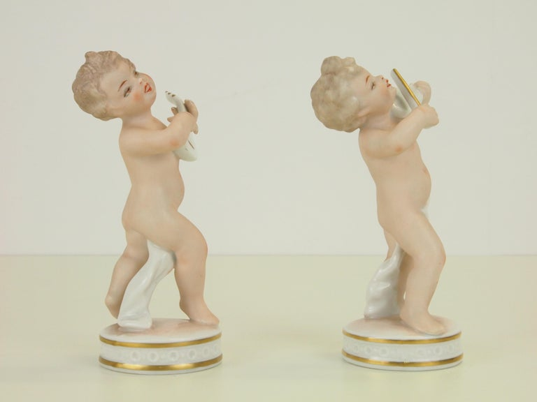 Dresden Porcelain Figurines Depicting 2 Music Playing Cherubs by Carl Thieme For Sale 2