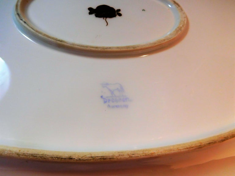 Dresden Porcelain Platter with Gold Incrustation by Ambrosius Lamm, circa 1900 For Sale 8