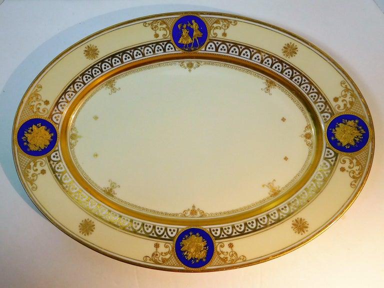 Belle Époque Dresden Porcelain Platter with Gold Incrustation by Ambrosius Lamm, circa 1900 For Sale