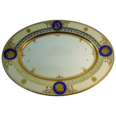 Dresden Porcelain Platter with Gold Incrustation by Ambrosius Lamm, circa 1900