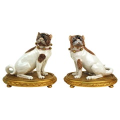 Dresden Porcelain Pug Dog Figures on Gilt Bronze Bases