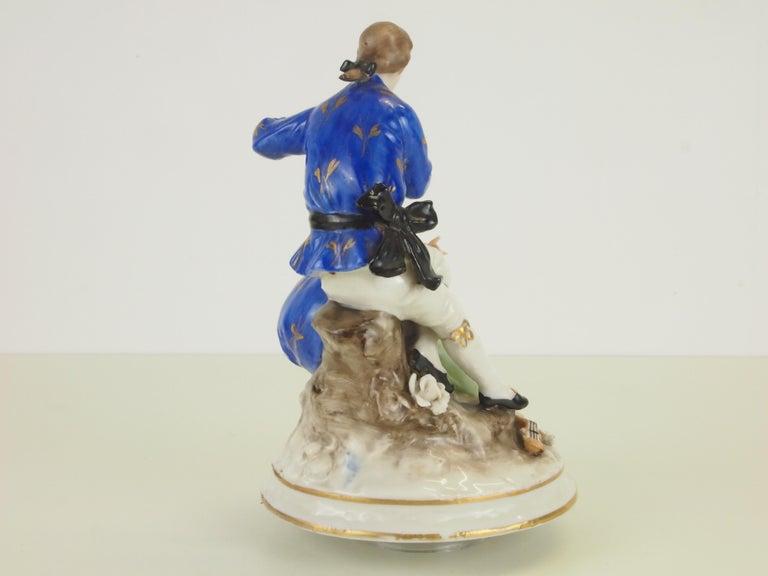Dresden Porcelain Romantic Couple Statuette by Ackermann & Fritze For Sale 5