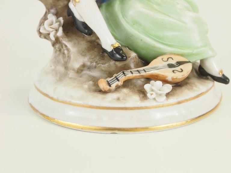 Dresden Porcelain Romantic Couple Statuette by Ackermann & Fritze For Sale 7
